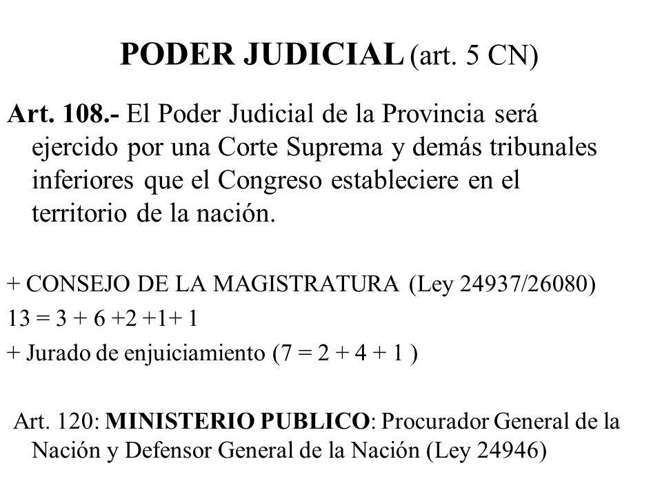 PODER JUDICIAL (art. 5 CN)