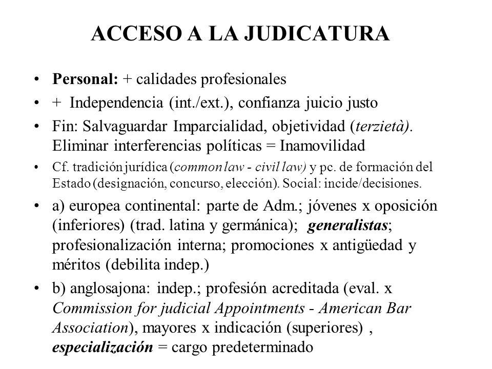 ACCESO A LA JUDICATURA Personal: + calidades profesionales