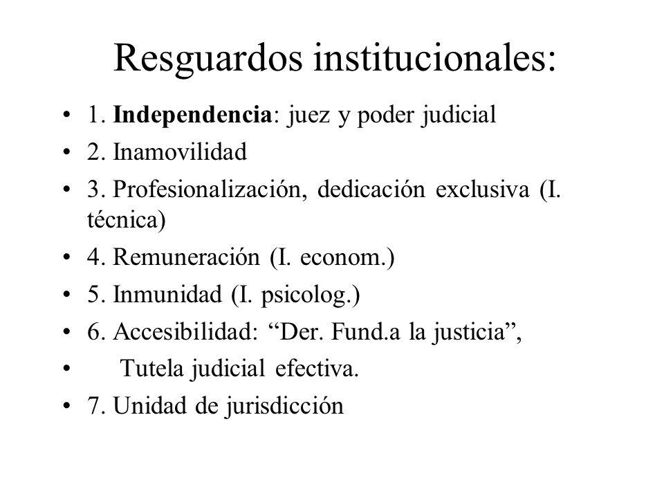 Resguardos institucionales: