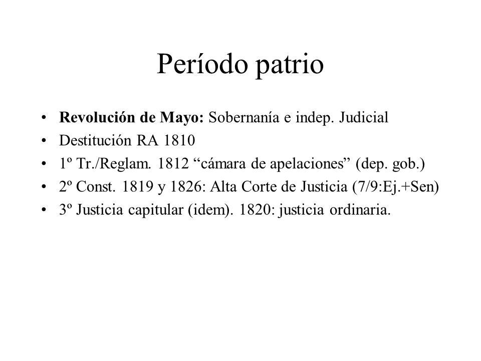 Período patrio Revolución de Mayo: Sobernanía e indep. Judicial
