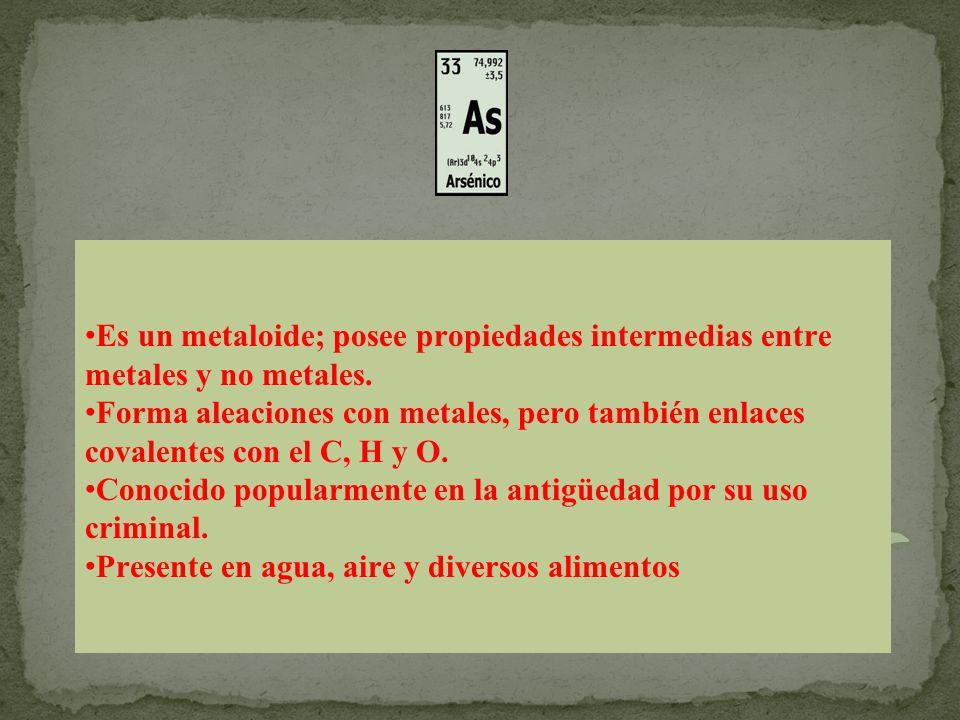 Es un metaloide; posee propiedades intermedias entre metales y no metales.