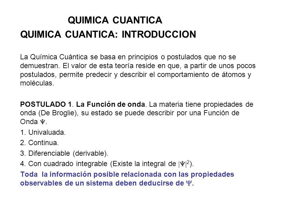 QUIMICA CUANTICA: INTRODUCCION