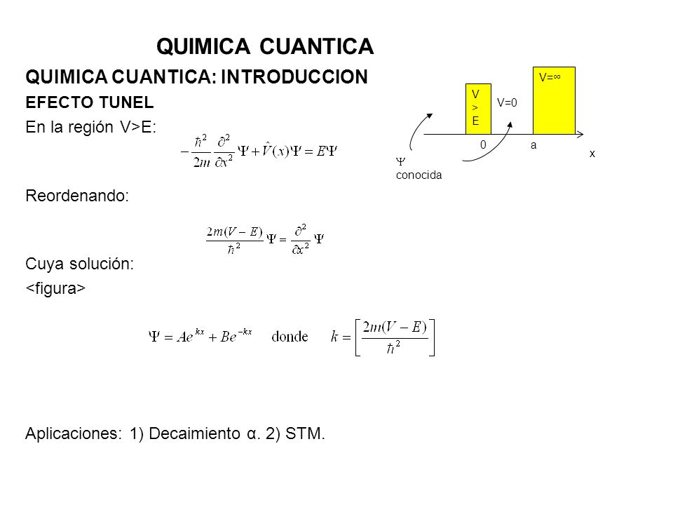 QUIMICA CUANTICA QUIMICA CUANTICA: INTRODUCCION EFECTO TUNEL