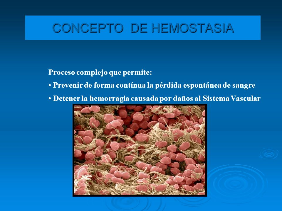CONCEPTO DE HEMOSTASIA