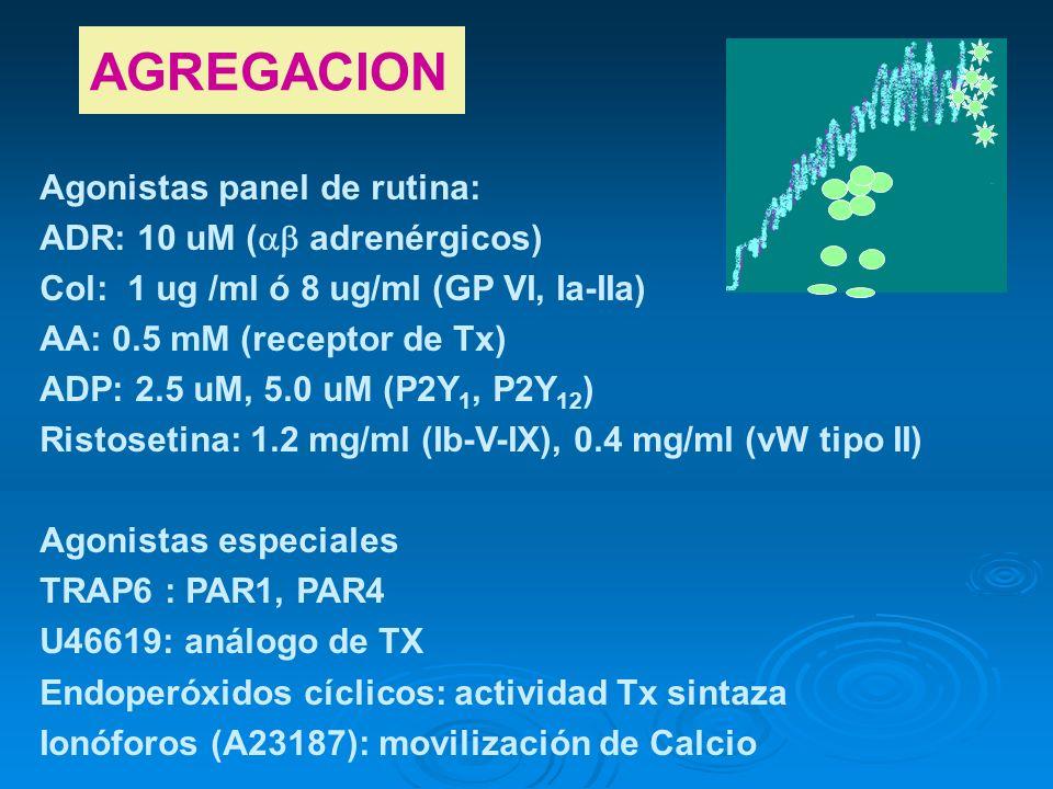 AGREGACION Agonistas panel de rutina: ADR: 10 uM ( adrenérgicos)