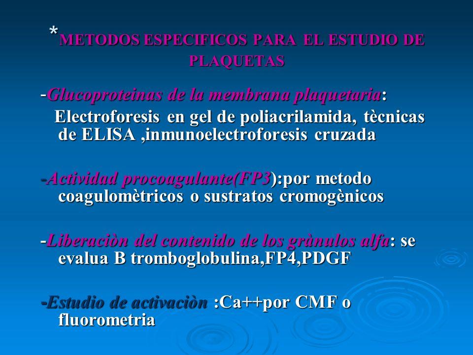 *METODOS ESPECIFICOS PARA EL ESTUDIO DE PLAQUETAS