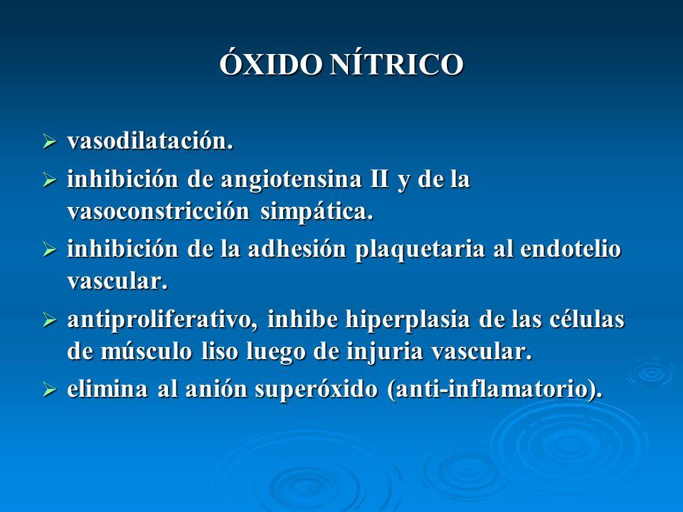 ÓXIDO NÍTRICO vasodilatación.