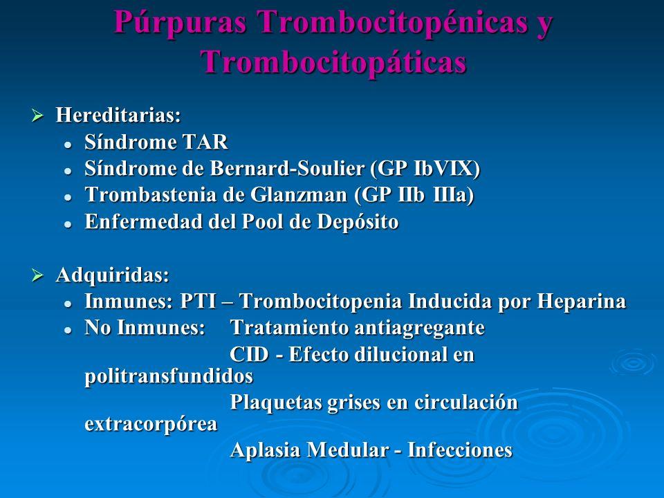 Púrpuras Trombocitopénicas y Trombocitopáticas