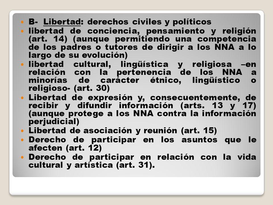 B- Libertad: derechos civiles y políticos