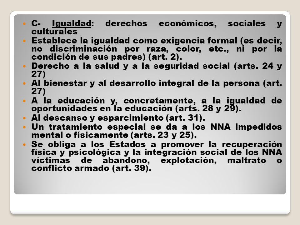 C- Igualdad: derechos económicos, sociales y culturales