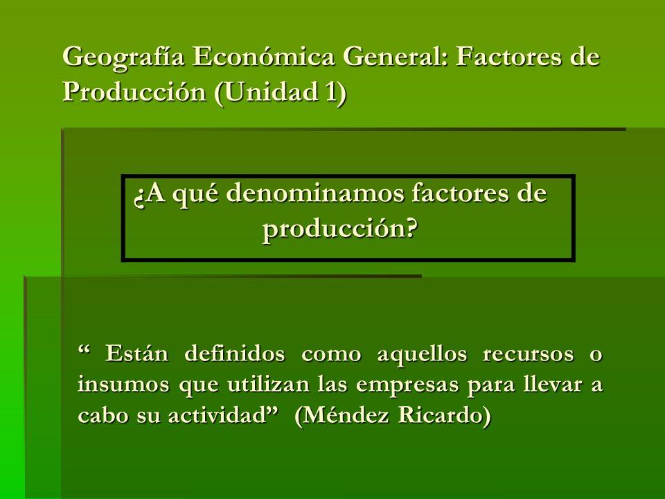 Geografía Económica General: Factores de Producción (Unidad 1)