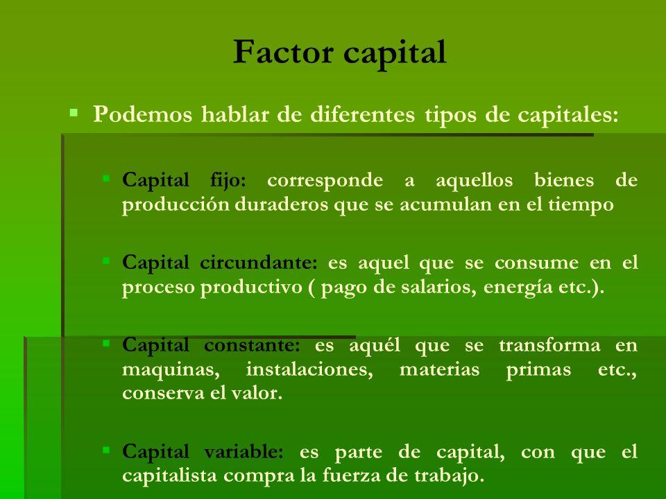 Factor capital Podemos hablar de diferentes tipos de capitales:
