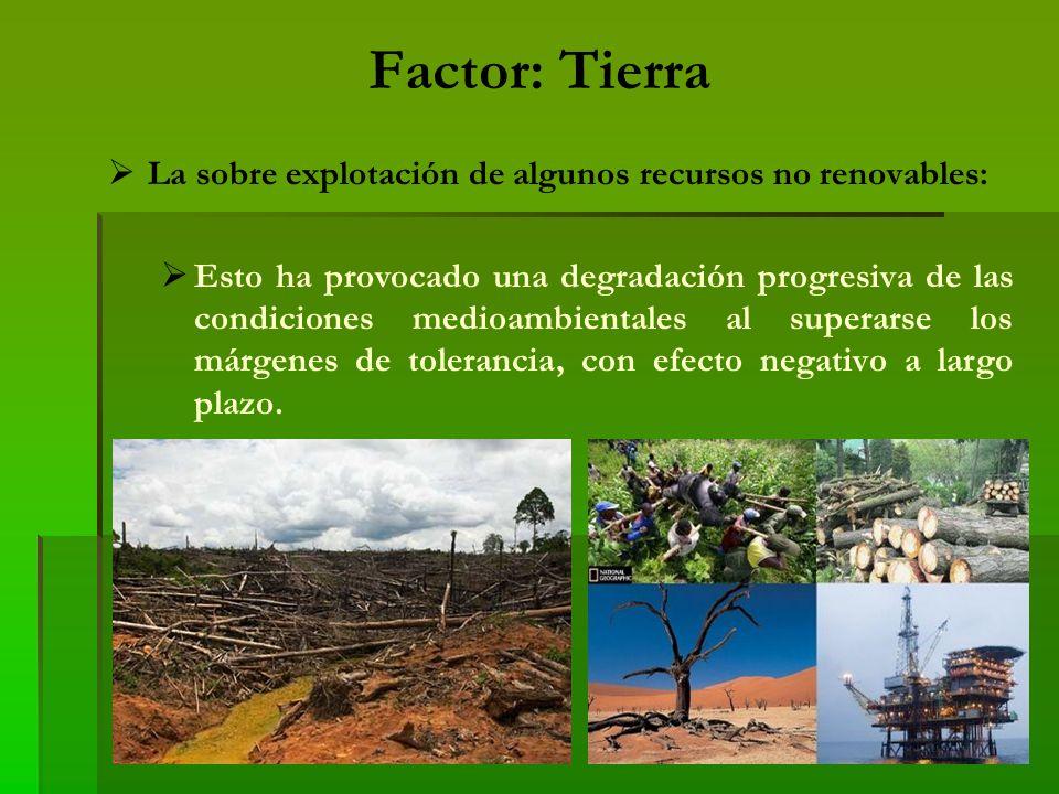 Factor: Tierra La sobre explotación de algunos recursos no renovables: