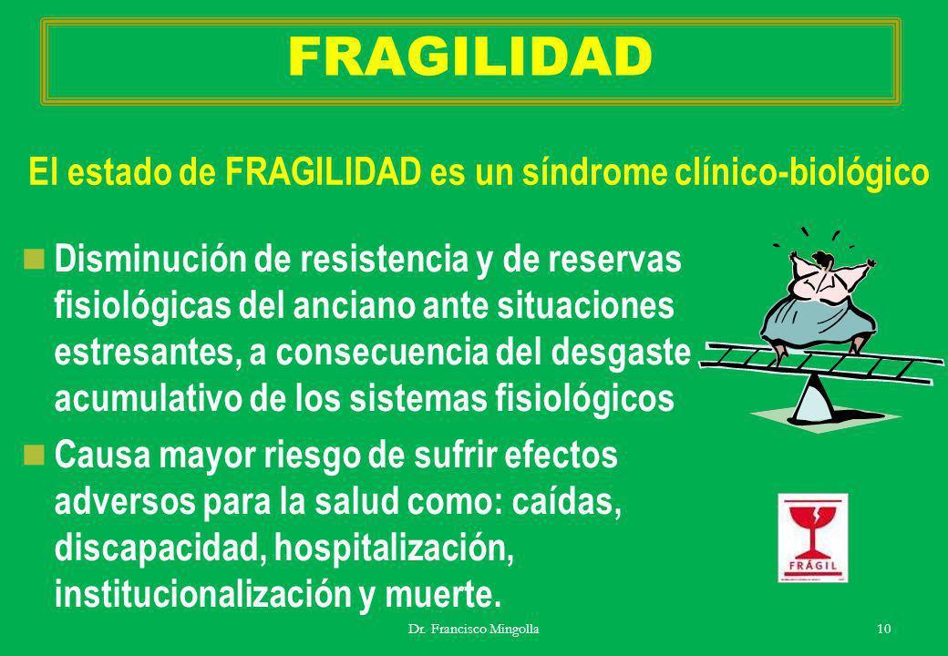 FRAGILIDAD El estado de FRAGILIDAD es un síndrome clínico-biológico
