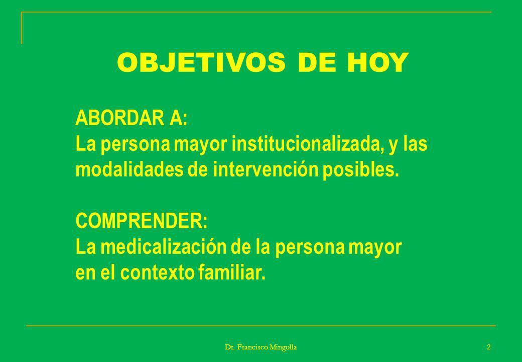 OBJETIVOS DE HOY ABORDAR A: La persona mayor institucionalizada, y las