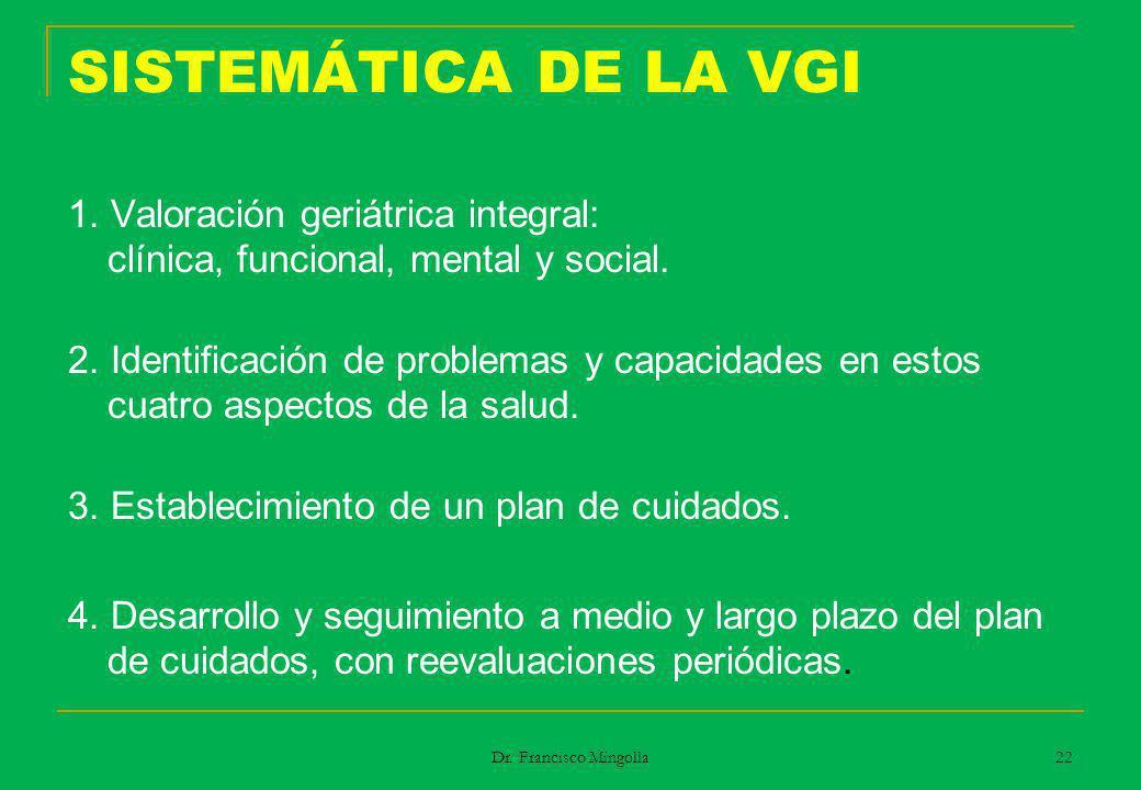 SISTEMÁTICA DE LA VGI 1. Valoración geriátrica integral: clínica, funcional, mental y social.