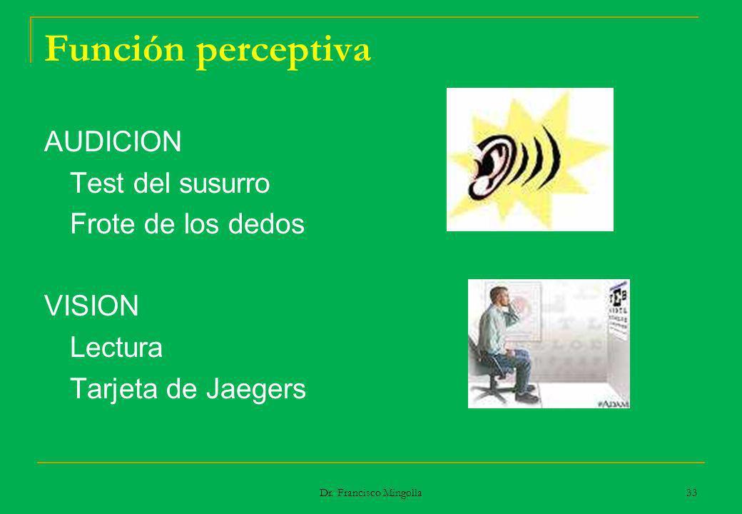 Función perceptiva AUDICION Test del susurro Frote de los dedos VISION