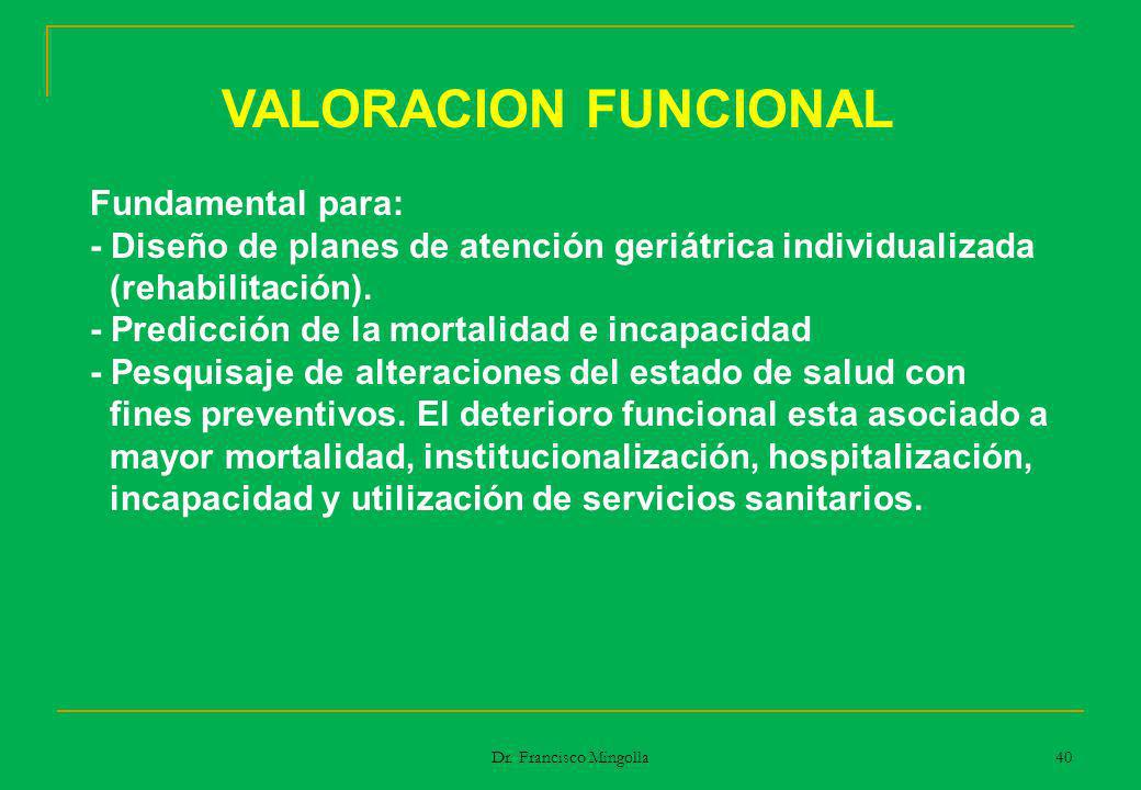 VALORACION FUNCIONAL Fundamental para: