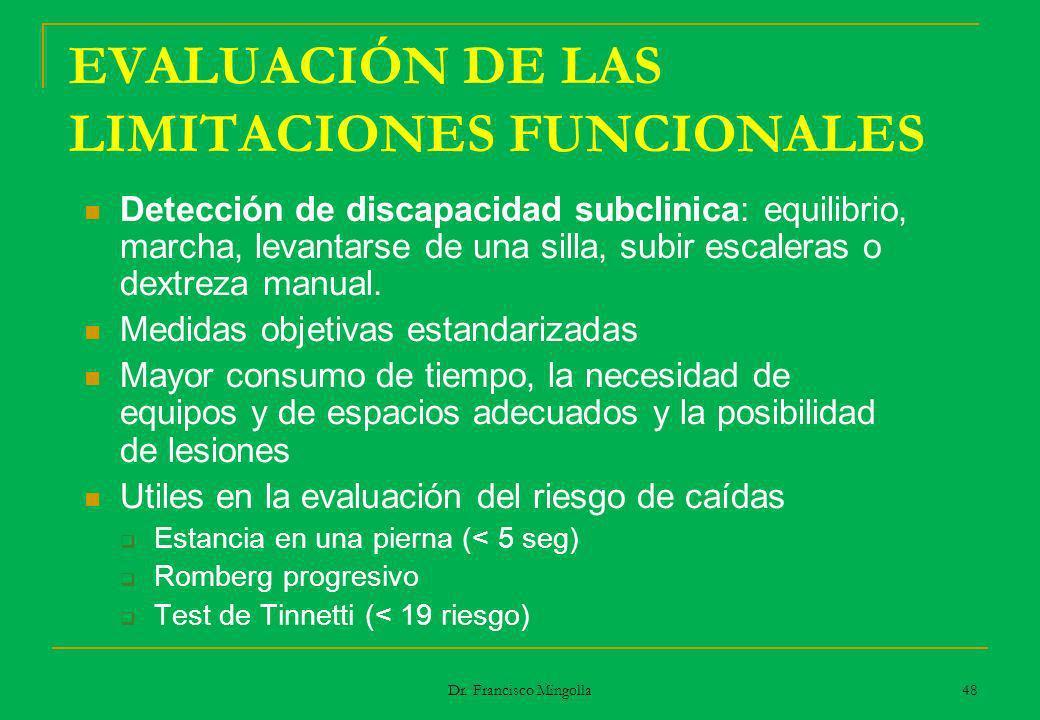 EVALUACIÓN DE LAS LIMITACIONES FUNCIONALES