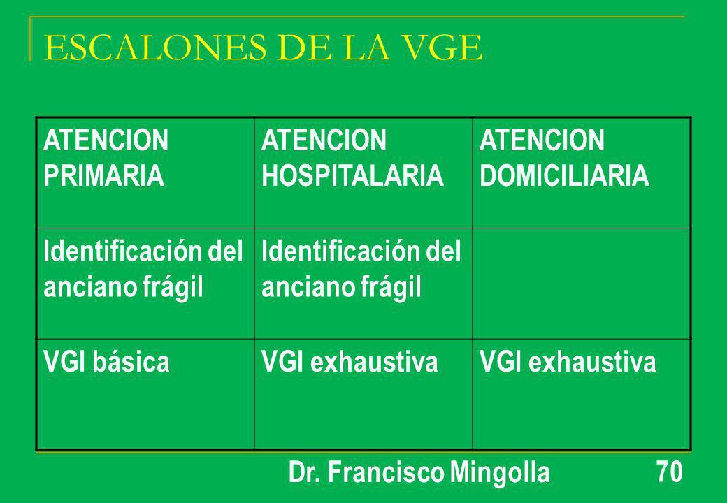 ESCALONES DE LA VGE ATENCION PRIMARIA ATENCION HOSPITALARIA