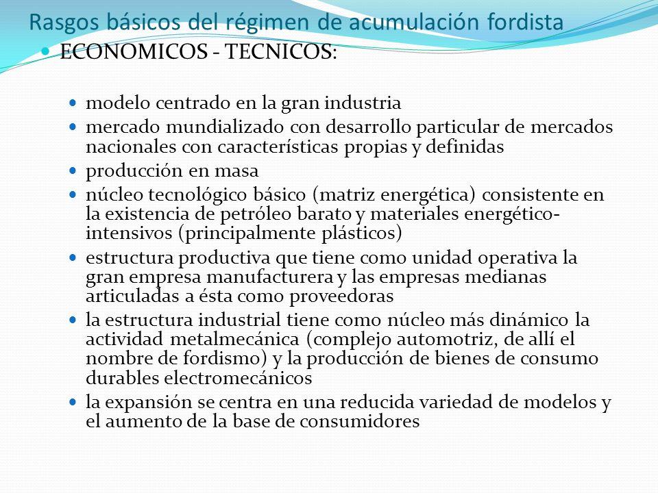 Rasgos básicos del régimen de acumulación fordista
