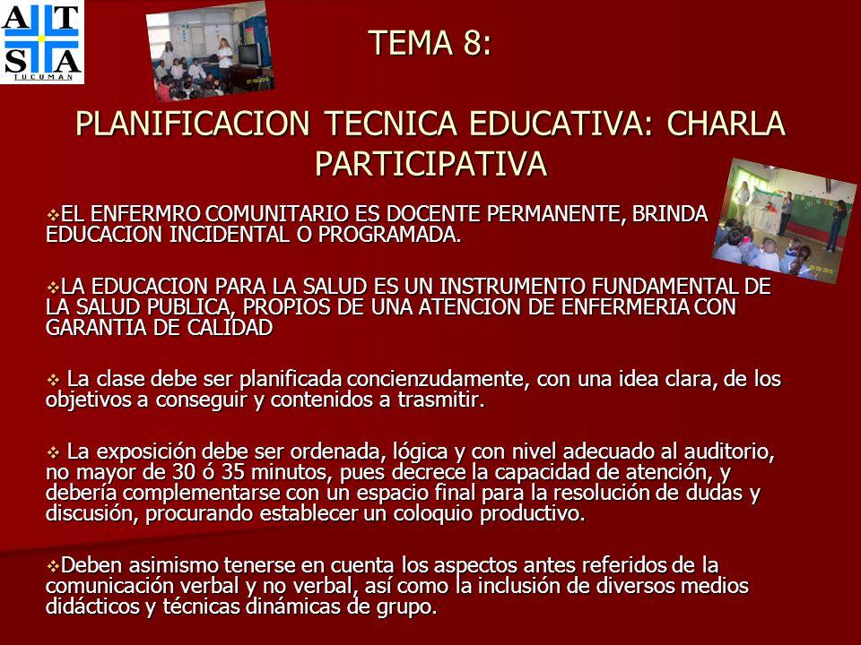 TEMA 8: PLANIFICACION TECNICA EDUCATIVA: CHARLA PARTICIPATIVA