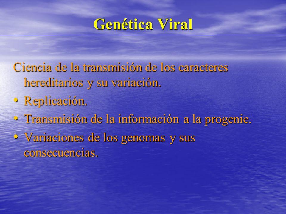 Genética Viral Ciencia de la transmisión de los caracteres hereditarios y su variación. Replicación.