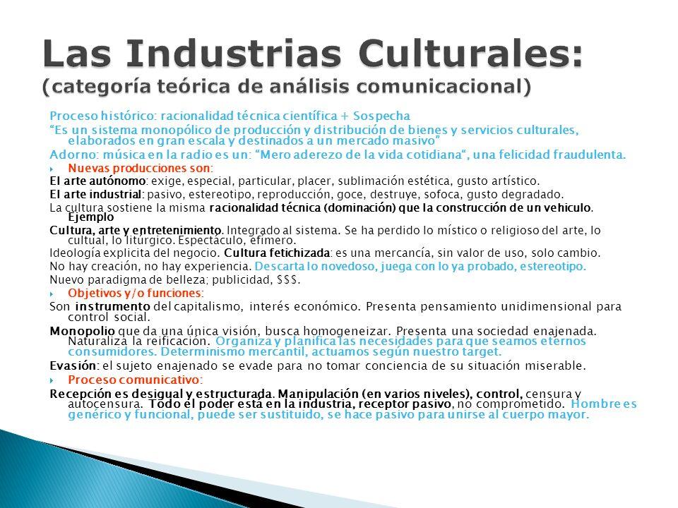 Las Industrias Culturales: (categoría teórica de análisis comunicacional)
