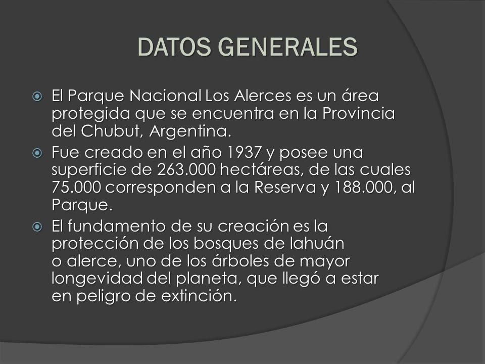 DATOS GENERALESEl Parque Nacional Los Alerces es un área protegida que se encuentra en la Provincia del Chubut, Argentina.