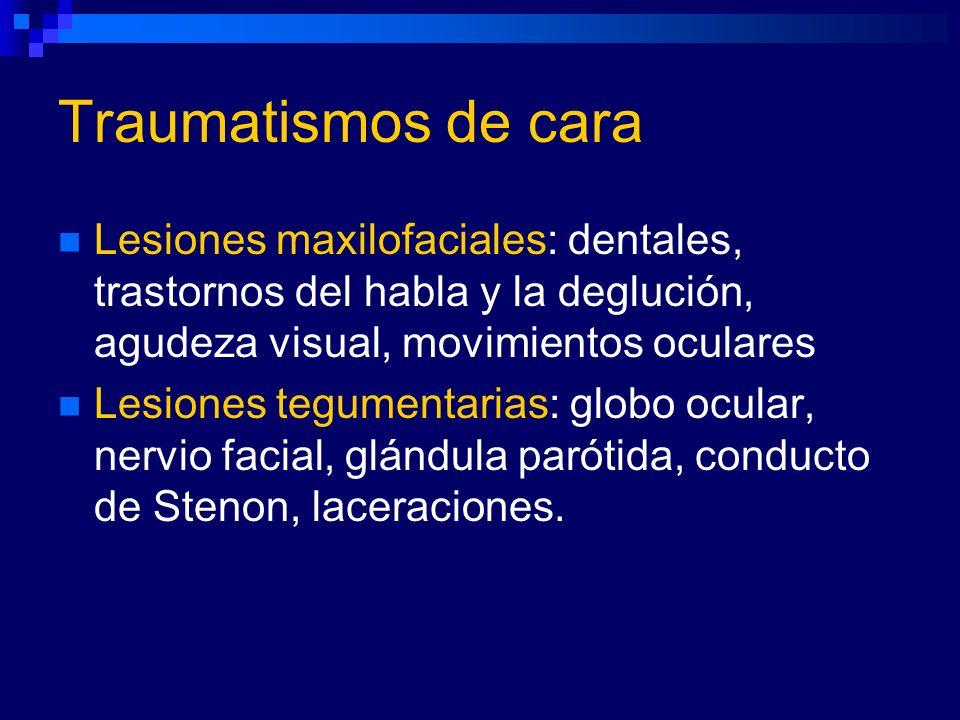 Traumatismos de cara Lesiones maxilofaciales: dentales, trastornos del habla y la deglución, agudeza visual, movimientos oculares.