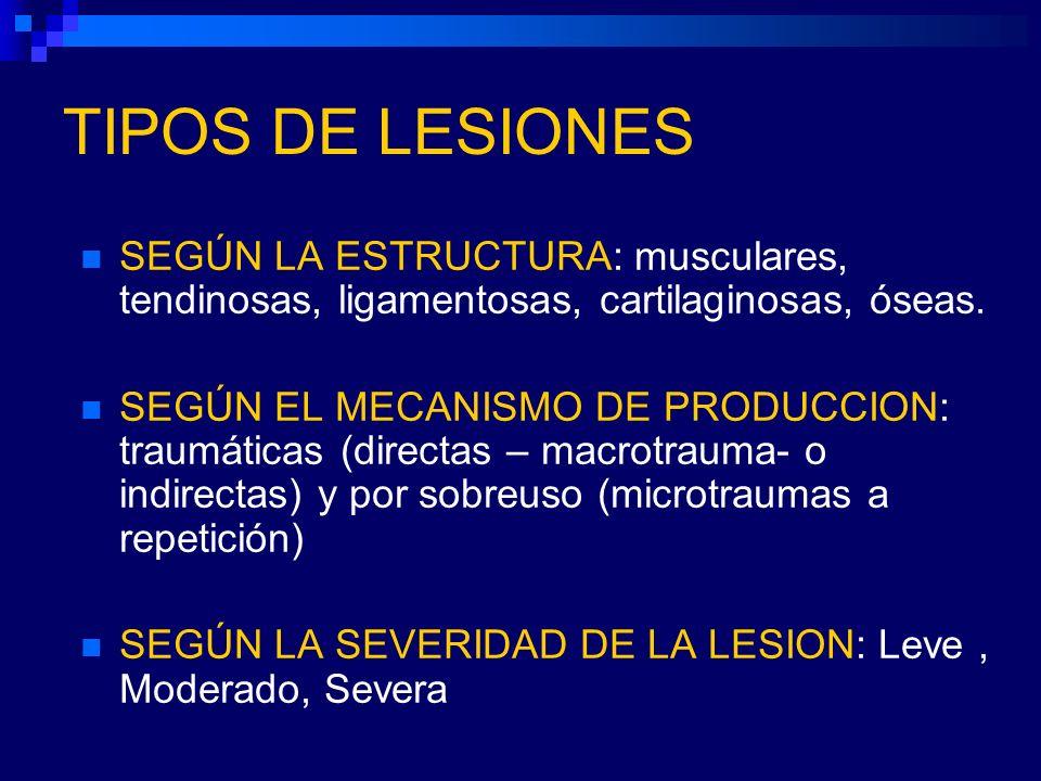 TIPOS DE LESIONES SEGÚN LA ESTRUCTURA: musculares, tendinosas, ligamentosas, cartilaginosas, óseas.