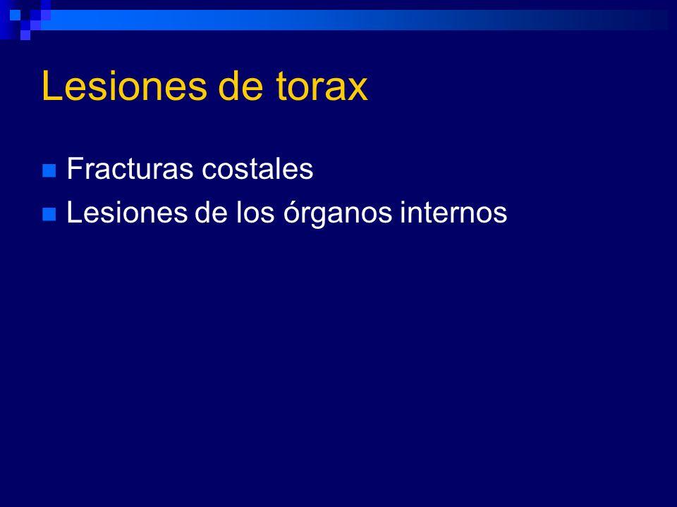 Lesiones de torax Fracturas costales Lesiones de los órganos internos