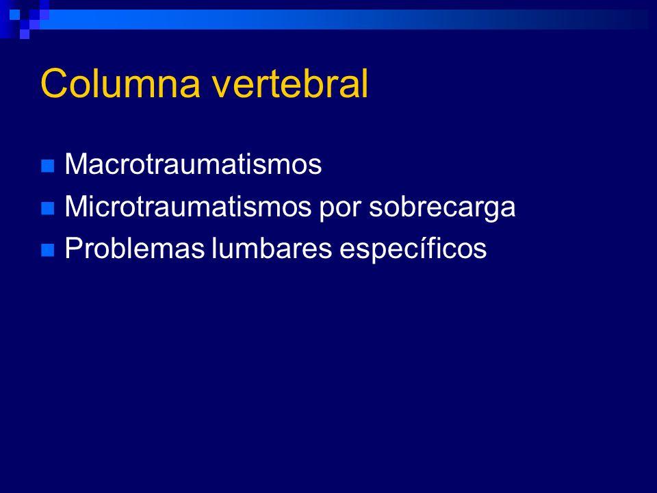 Columna vertebral Macrotraumatismos Microtraumatismos por sobrecarga