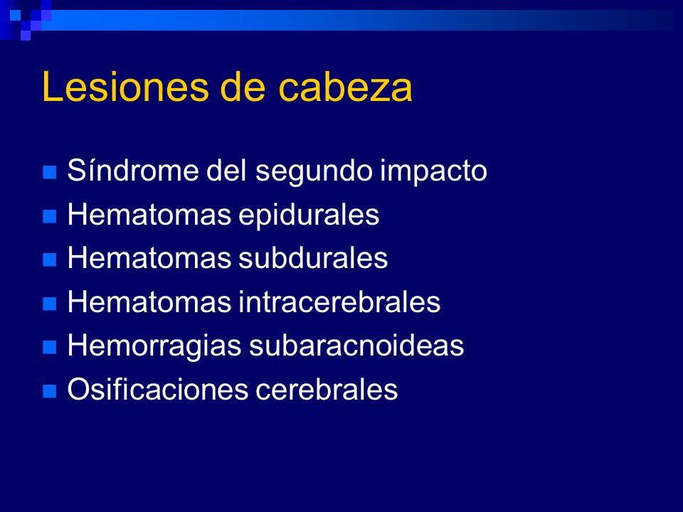 Lesiones de cabeza Síndrome del segundo impacto Hematomas epidurales