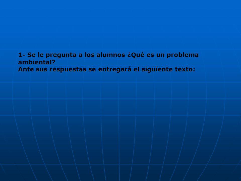 1- Se le pregunta a los alumnos ¿Qué es un problema ambiental