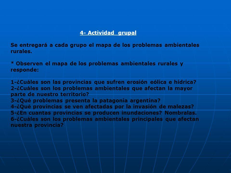 4- Actividad grupalSe entregará a cada grupo el mapa de los problemas ambientales rurales.