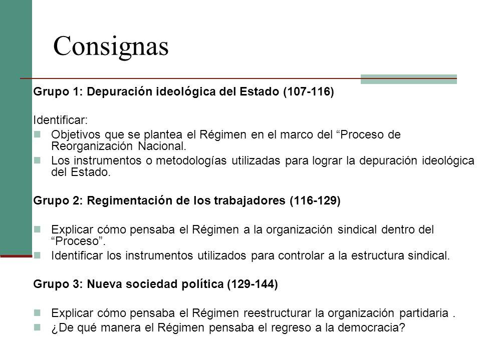 Consignas Grupo 1: Depuración ideológica del Estado (107-116)