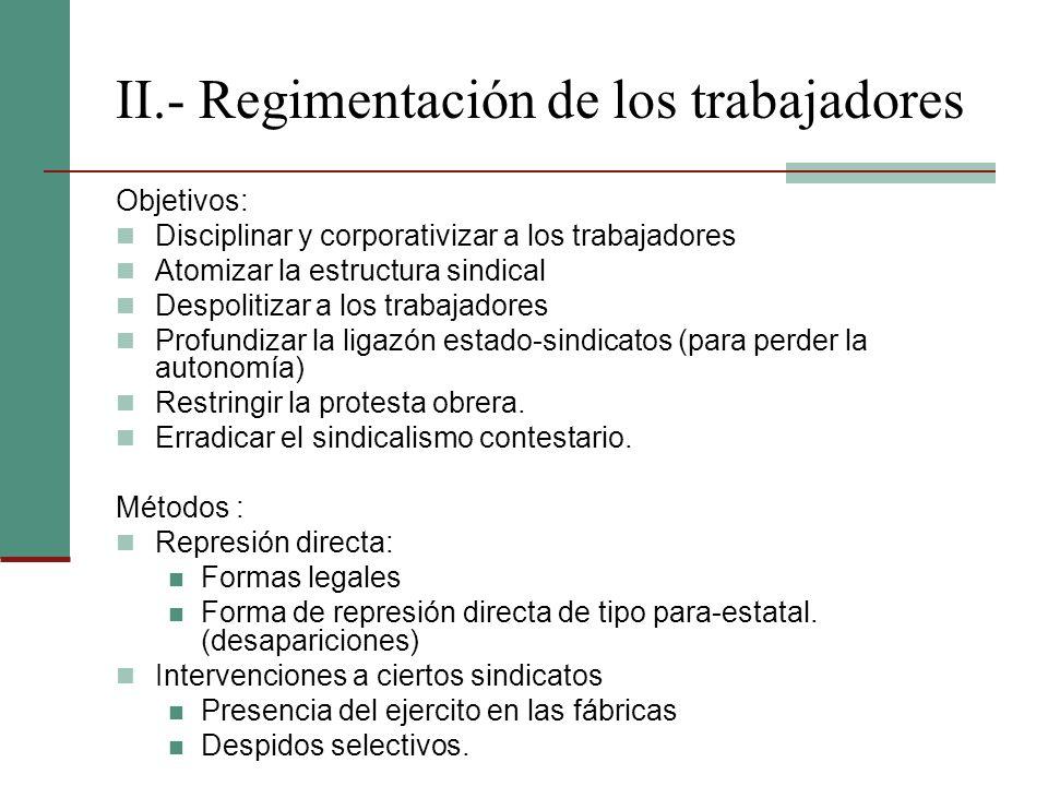 II.- Regimentación de los trabajadores