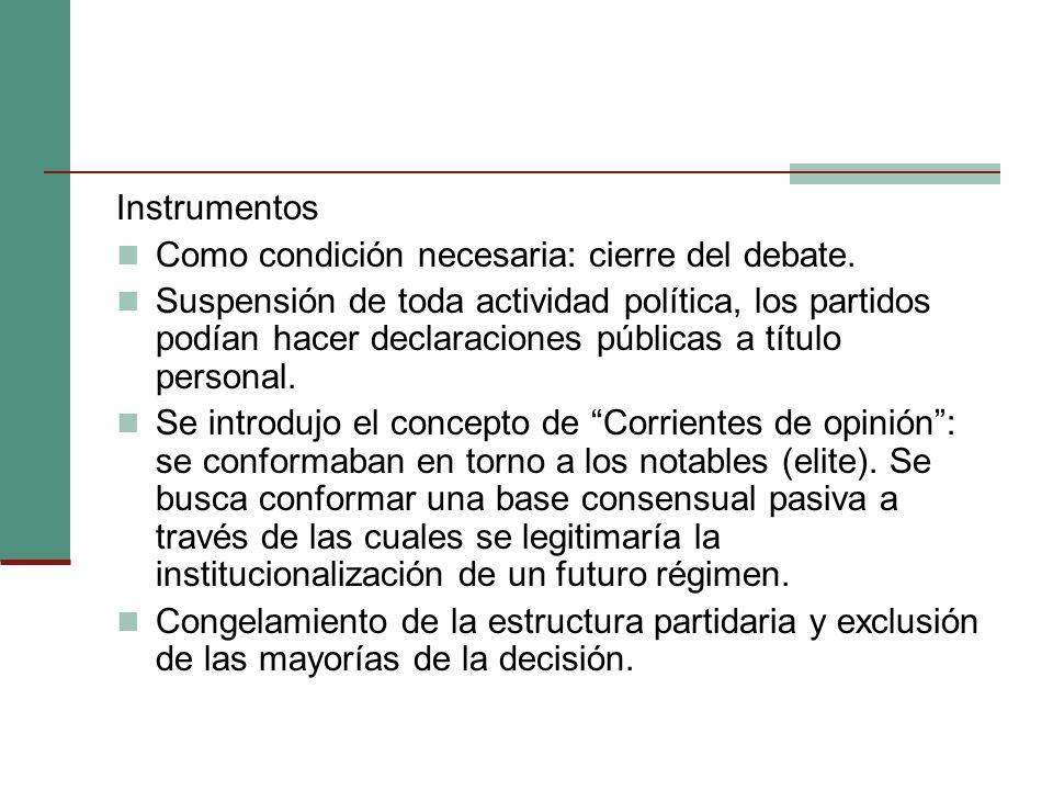 Instrumentos Como condición necesaria: cierre del debate.