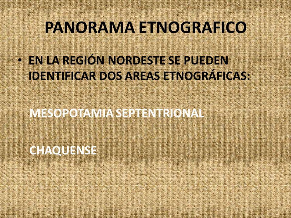 PANORAMA ETNOGRAFICO EN LA REGIÓN NORDESTE SE PUEDEN IDENTIFICAR DOS AREAS ETNOGRÁFICAS: MESOPOTAMIA SEPTENTRIONAL.