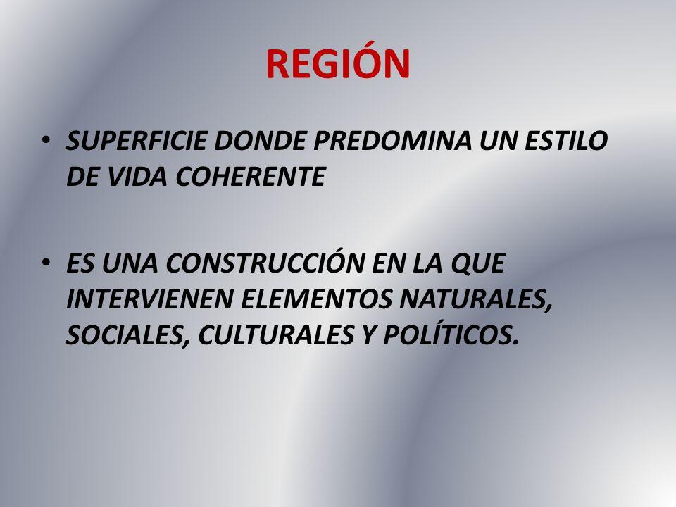REGIÓN SUPERFICIE DONDE PREDOMINA UN ESTILO DE VIDA COHERENTE