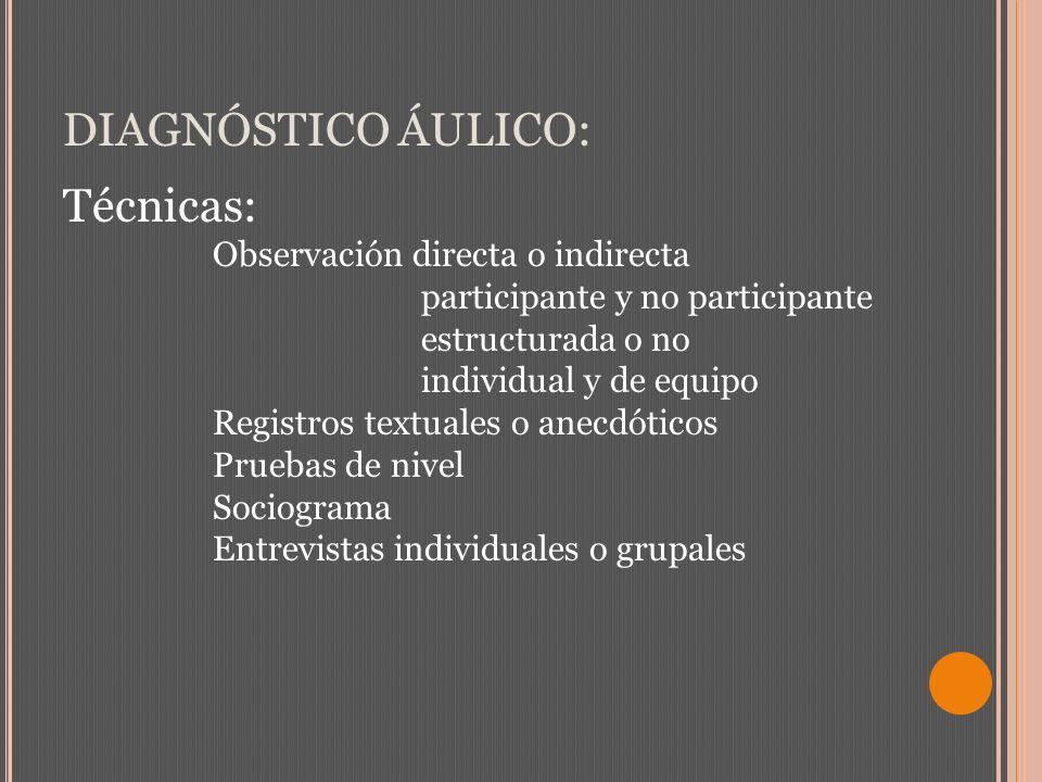 DIAGNÓSTICO ÁULICO: Técnicas: Observación directa o indirecta