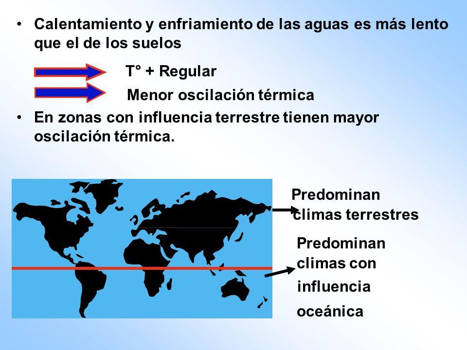 Predominan climas terrestres Predominan climas con influencia oceánica