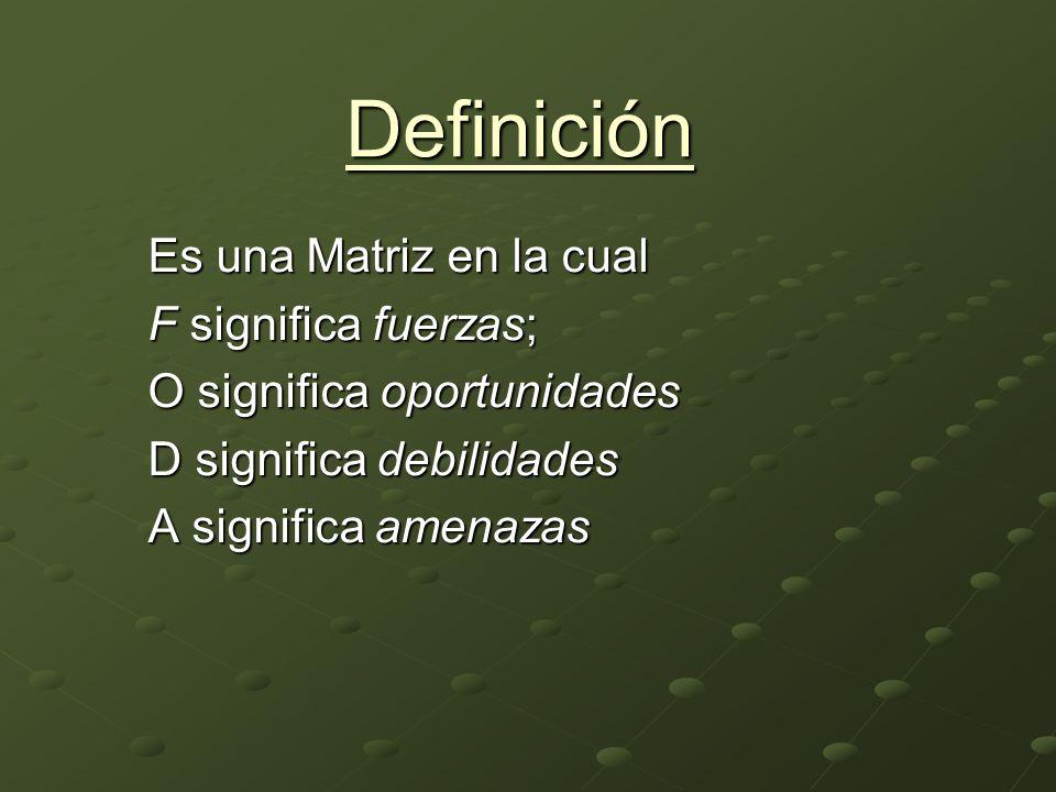 Definición Es una Matriz en la cual F significa fuerzas;