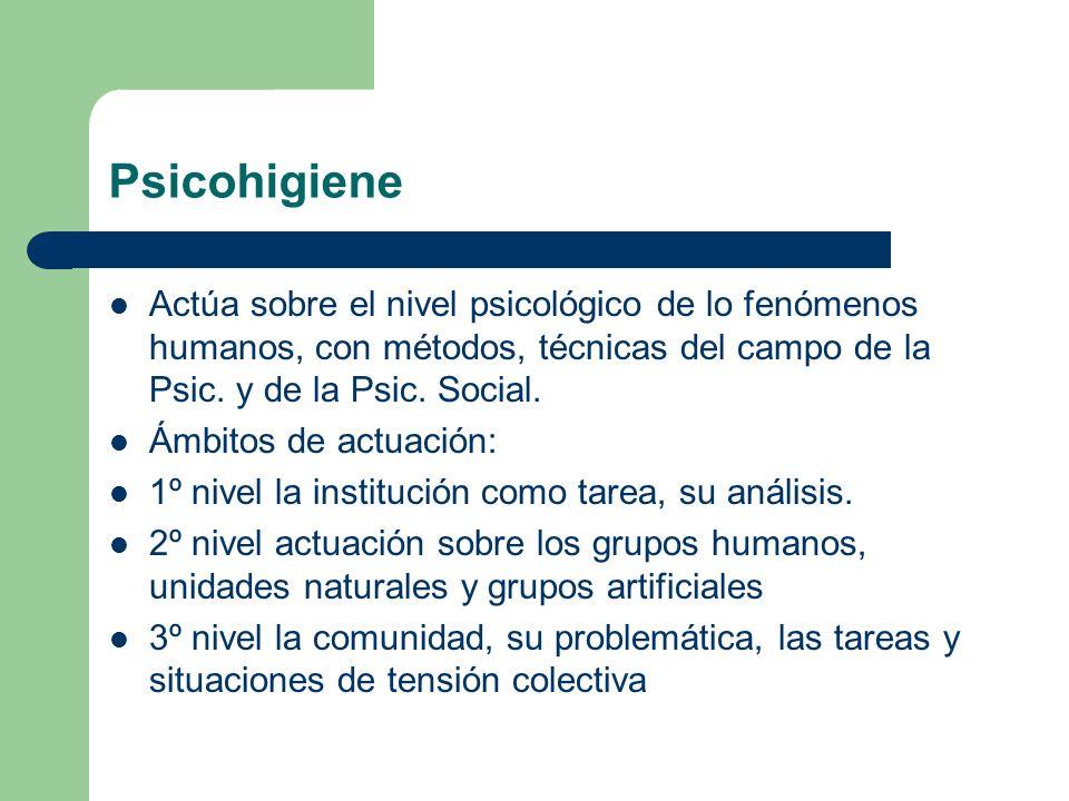 Psicohigiene Actúa sobre el nivel psicológico de lo fenómenos humanos, con métodos, técnicas del campo de la Psic. y de la Psic. Social.
