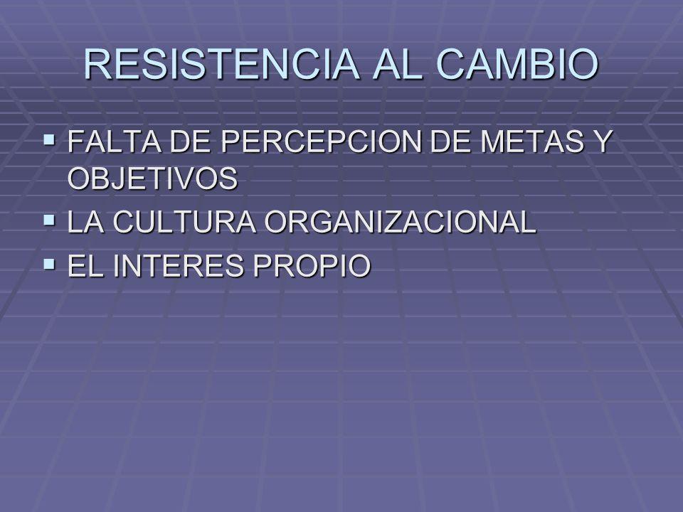 RESISTENCIA AL CAMBIO FALTA DE PERCEPCION DE METAS Y OBJETIVOS