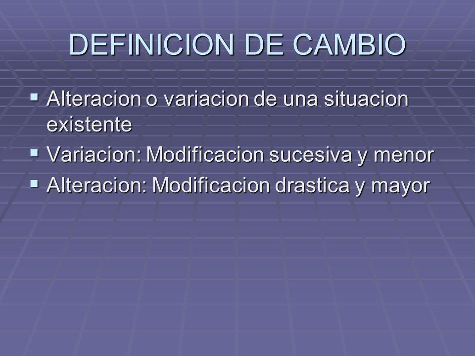 DEFINICION DE CAMBIO Alteracion o variacion de una situacion existente