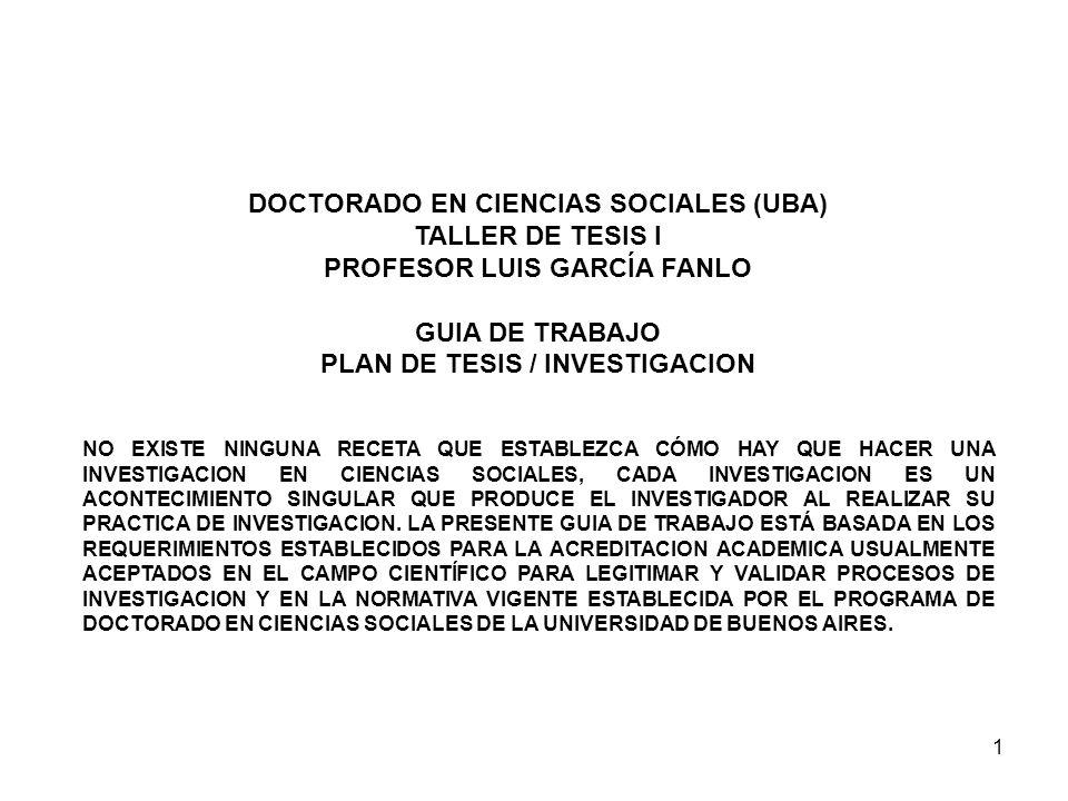 DOCTORADO EN CIENCIAS SOCIALES (UBA) TALLER DE TESIS I