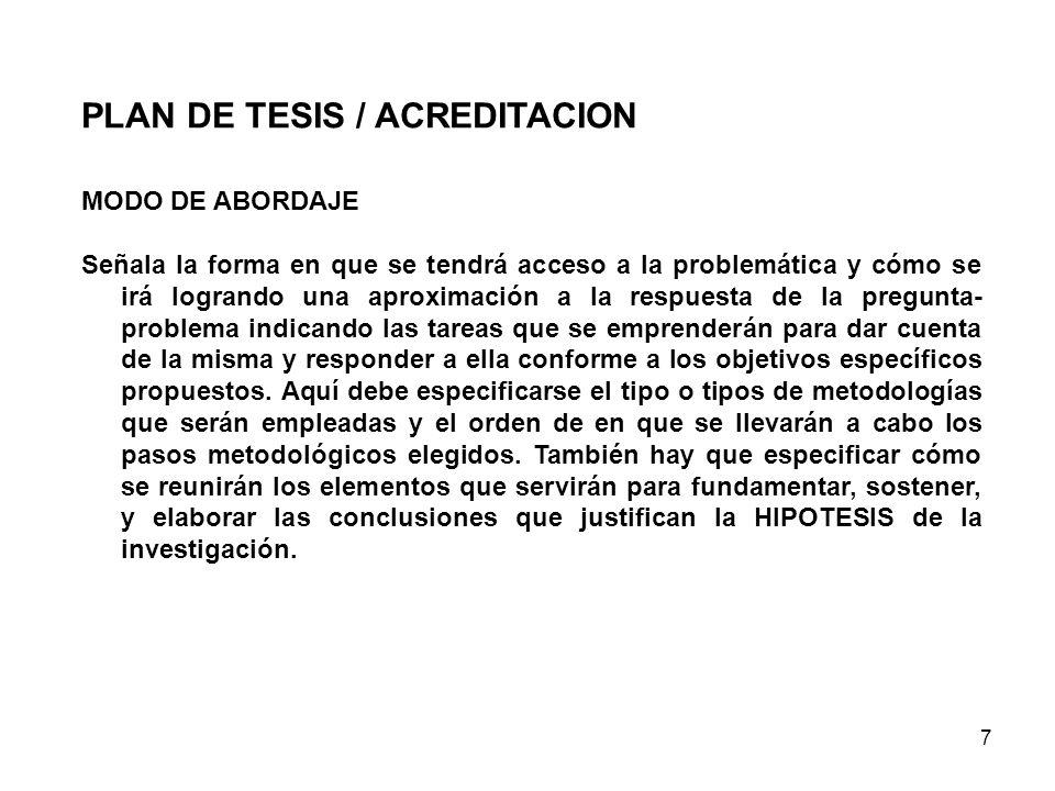 PLAN DE TESIS / ACREDITACION