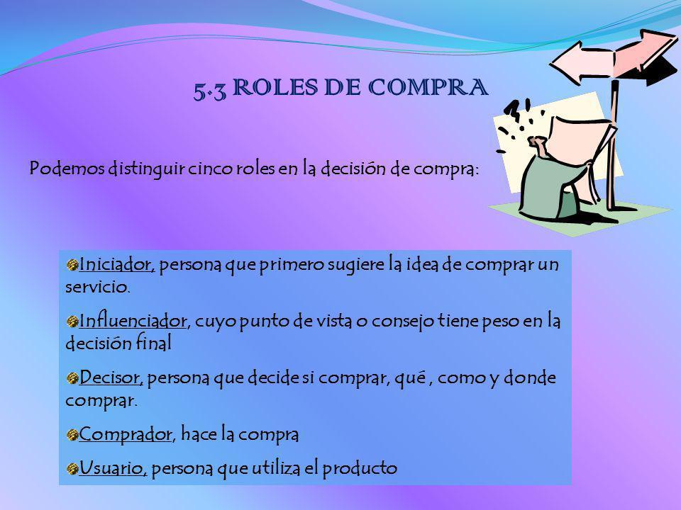 5.3 ROLES DE COMPRA Podemos distinguir cinco roles en la decisión de compra: Iniciador, persona que primero sugiere la idea de comprar un servicio.
